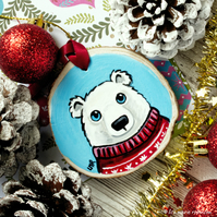Polar Bear in Christmas Jumper - Hand painted Wooden Christmas Tree Decoration