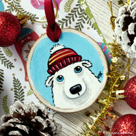 Polar Bear in Bobble Hat - Hand painted Wooden Christmas Tree Decoration
