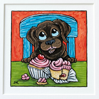 Whimsical Chocolate Labrador Dog Cupcakes - Original Painting - Mounted