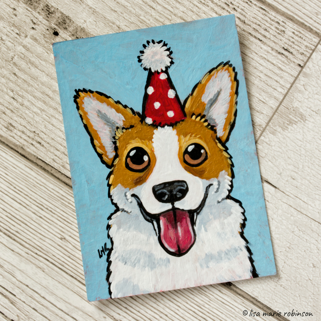 Original ACEO Painting Party Corgi Happy Dog Art