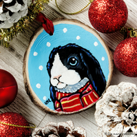 Black & White Winter Bunny - Hand painted Wooden Christmas Tree Decoration