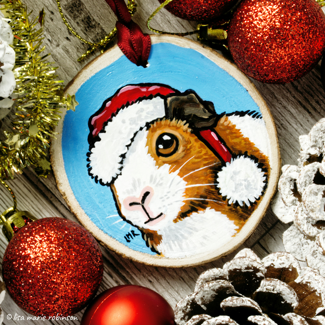 Santa Guinea Pig - Hand painted Wooden Christmas Tree Decoration