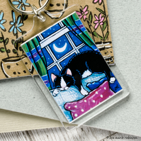 Sleeping Black and White Cat on Sofa Keyring - Large