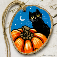 Black Cat and Huge Pumpkin Halloween Wooden Slice Rustic Hanging Decoration