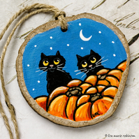 2 Black Cats with Pumpkins Wooden Slice Rustic Halloween Hanging Decoration