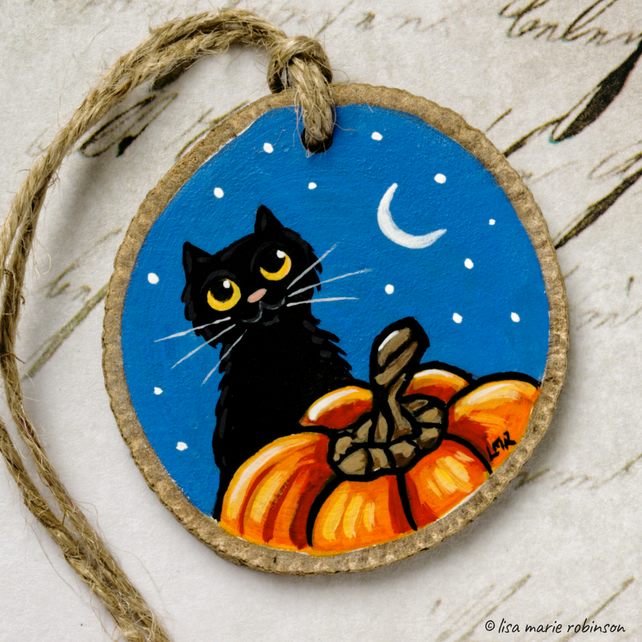 Black Cat and Pumpkin Night Time Halloween Wood Slice Rustic Hanging Decoration