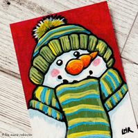 Snowman Green Scarf Hat Carrot Nose - Orignal ACEO Painting