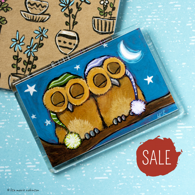 SALE - Sleepy Owls Fridge Magnet - Jumbo