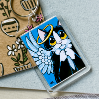 Black and White Angel Cat Pray Halo Keyring - Large