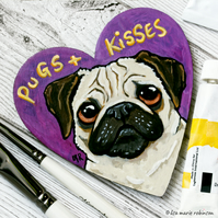 Pugs and Kisses - Hand Painted Heart Shaped Magnet