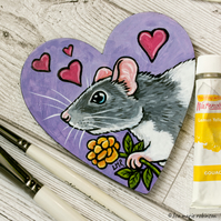 Fancy Rat Flower & Hearts - Hand Painted Heart Shaped Magnet