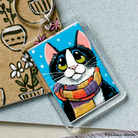 Tuxedo Cat Wearing a Scarf Keyring - Large