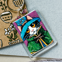 Wizard Mage Cat Fantasy Keyring - Large