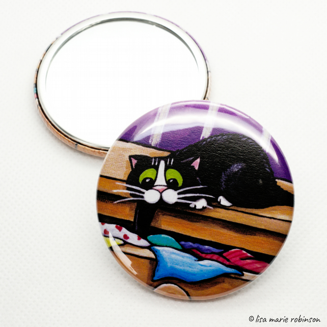 Naughty Cat 58mm Pocket Mirror