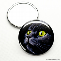 Green Eyed Cat 58mm Pocket Mirror