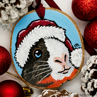 Festive Guinea Pig - Hand Painted Wooden Christmas Tree Decoration