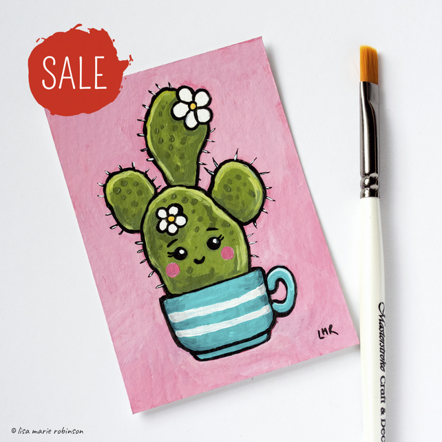SALE - Kawaii Cactus Original ACEO Art Card .02