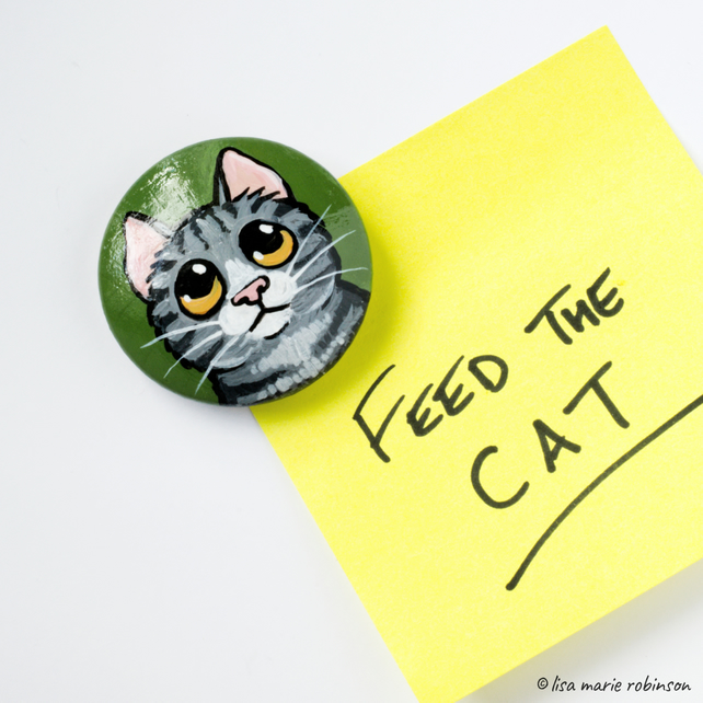 Grey Tabby Cat - Hand Painted Wooden Fridge Magnet