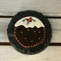 Slate Coaster Set Christmas Puddings