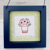 Hand Embroidered Flowerpot Picture With Poppies