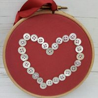 Hoop with Button Heart Design