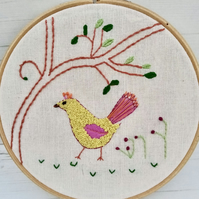 Quirky Bird Embroidery Hoop