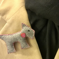 Felt Terrier Brooch