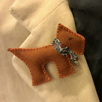 Dog Brooch with a Liberty Collar