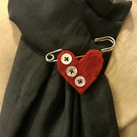 Scarf Pin or Brooch with Button Heart