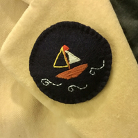 Navy Yacht Brooch