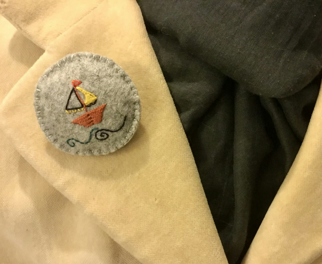Yacht Brooch with Yellow Sails