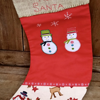 Christmas Stocking with Snowmen. Can be Personalised.