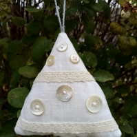 Abstract White Christmas Tree Decoration with Mother of Pearl Buttons