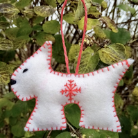 Snow Dog Christmas Decoration with Snowflake Design