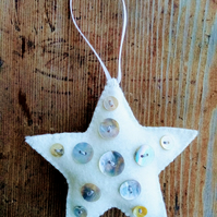 Hand Sewn Christmas Star with Mother of Pearl Buttons