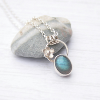 Silver botanical necklace with labradorite