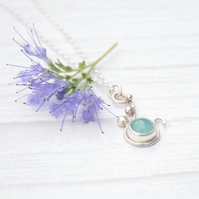 Silver necklace with chalcedony gemstone