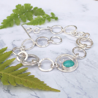 Sterling silver link bracelet with amazonite gemstone, inspired by ferns