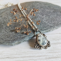 Dendrite and sterling silver botanical necklace