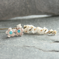 Turquoise and silver flower stud earrings