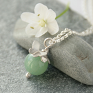 Aventurine and silver butterfly necklace