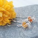 Long amber and silver earrings