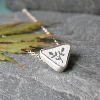 Enamel and graphite silver necklace
