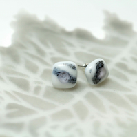 White and Blue with a Pale Pink Dot Glass Stud Earring Sterling Sliver 925