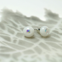 White with a Dichroic Dot- Glass Stud Earring Sterling Sliver 925