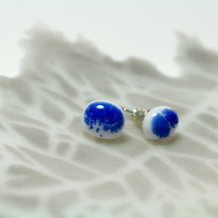 White and Blue Glass Stud Earring Sterling Sliver 925
