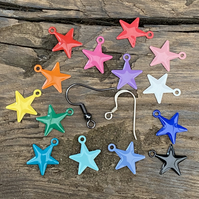 Bright Enamel Star Earrings. Choose Your Earring Finish. Pair of Star Earrings