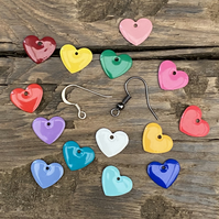 Bright Enamel Heart Earrings. Choose Your Earring Finish. Pair of Heart Earrings