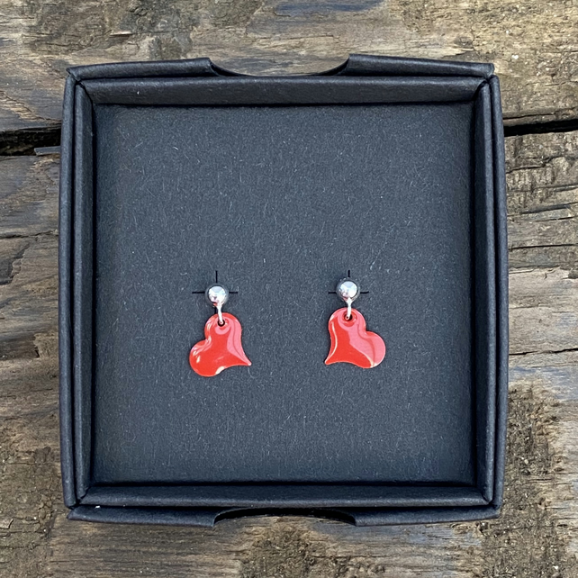 Enamel hearts on sterling silver posts. Colourful heart earrings. Colour options