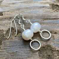 Freshwater pearl and hoop earrings, sterling silver.